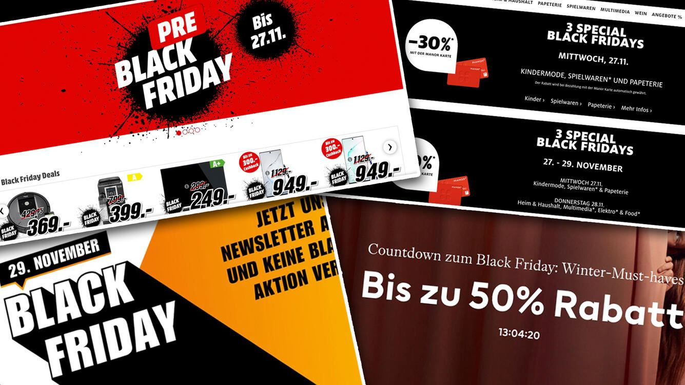 Screenshots von diversen Black Friday Angeboten