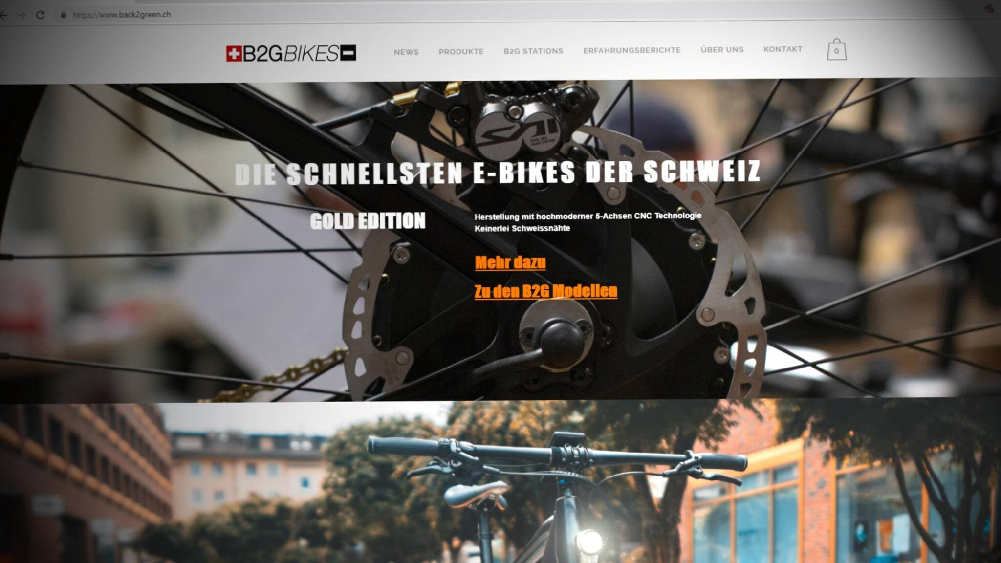 Screenshot der Website von B2G-Bikes