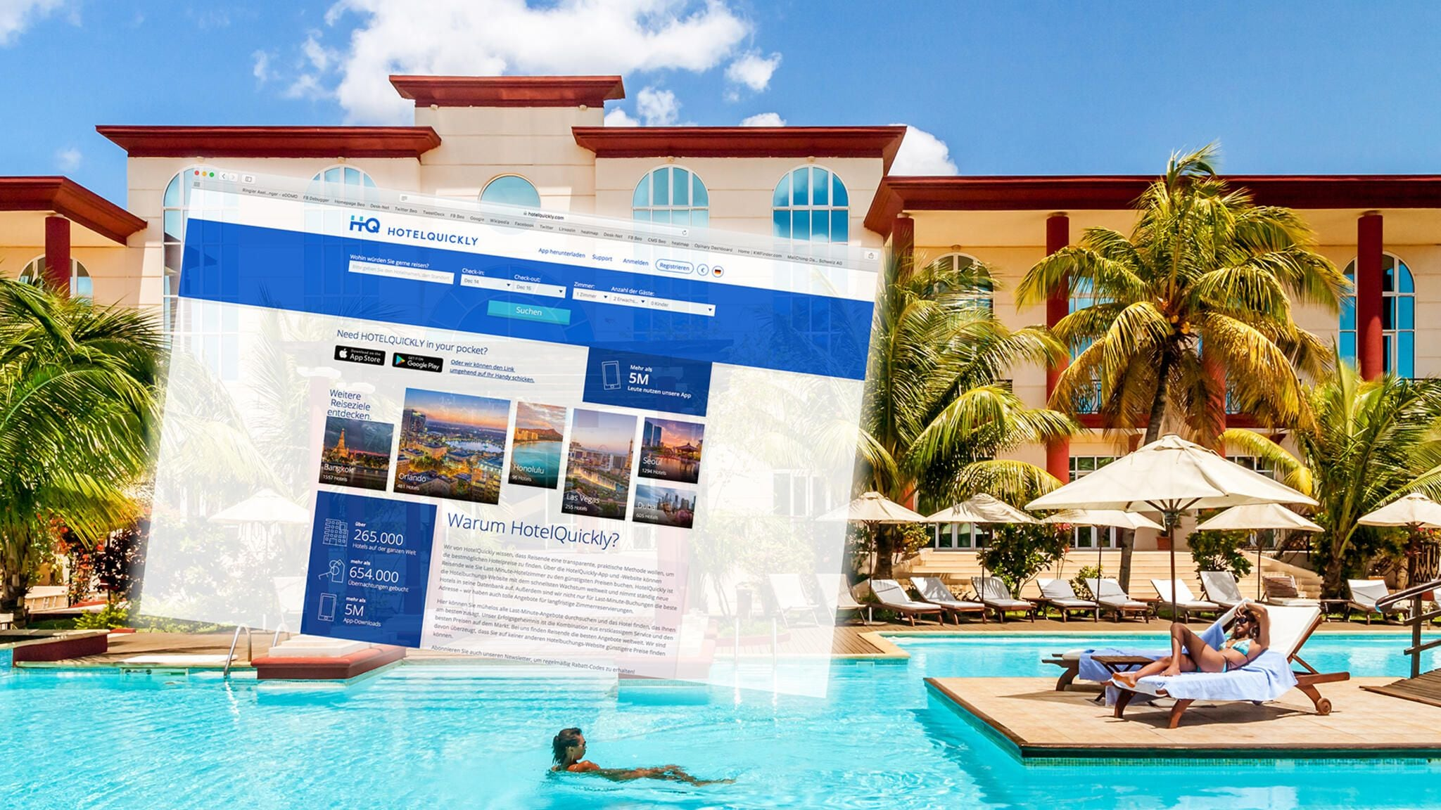 Hotelanlage mit Pool und Screenshot der Hotelquickly-Website